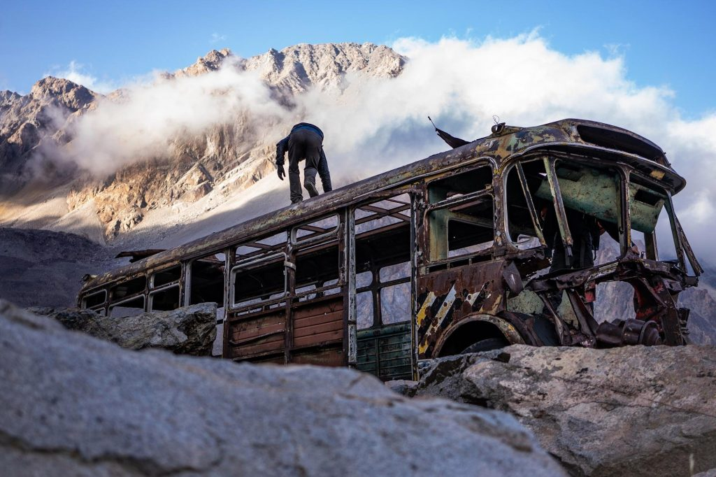 Jimmy Hyland explores the skeleton of an old bus