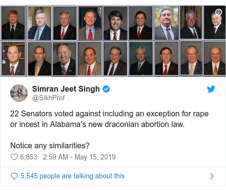 22 Senators voted against including an exception for rape or incest in Alabama's new draconian abortion law
